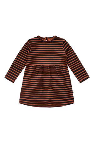 gestreepte A-lijn jurk met biologisch katoen bruin/zwart