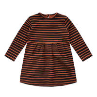 Your Wishes gestreepte baby A-lijn jurk met biologisch katoen bruin/zwart, Bruin/zwart