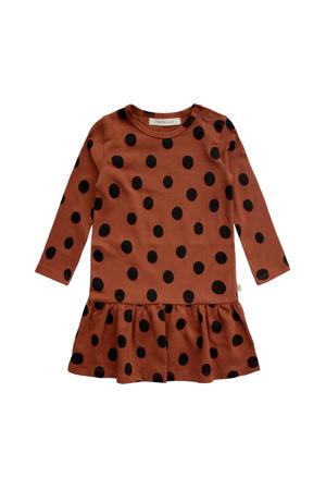 A-lijn jurk met biologisch katoen bruin/zwart