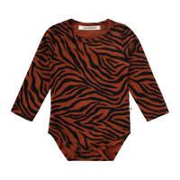 Your Wishes newborn baby romper met zebraprint bruin/zwart, Bruin/zwart