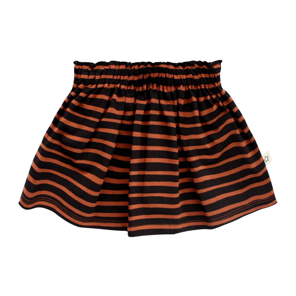 Your Wishes gestreepte rok met biologisch katoen bruin/zwart, Bruin/zwart