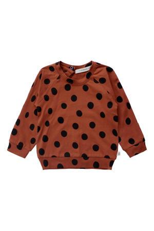 baby sweater met biologisch katoen bruin/zwart