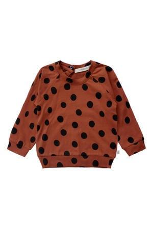 sweater met biologisch katoen bruin/zwart