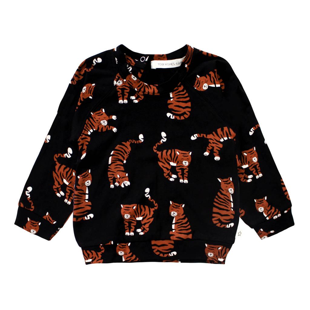 Your Wishes baby sweater met biologisch katoen zwart/bruin, Zwart/bruin