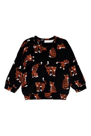 baby sweater met biologisch katoen zwart/bruin