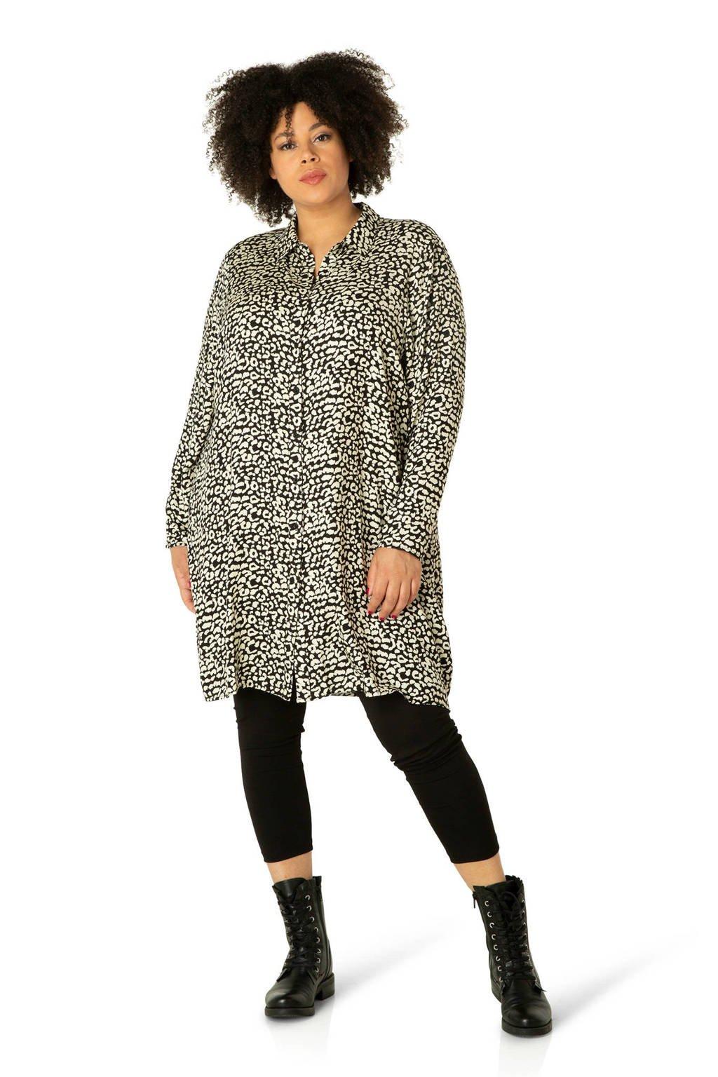 IVY BELLA blouse Zora met dierenprint zwart/ivoor, ivoor/zwart
