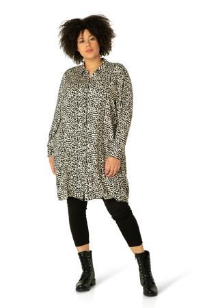 blouse Zora met dierenprint zwart/ivoor