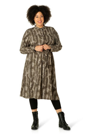 blousejurk Zuzanna met dierenprint bruin/beige/ecru