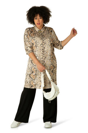 blouse Zofia met slangenprint en glitters beige/zwart/goud