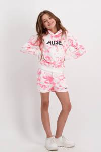 Cars tie-dye hoodie Tori roze/wit, Roze/wit