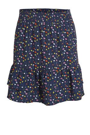 gebloemde rok Kate donkerblauw/multicolor