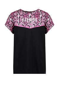 Cars T-shirt Pomona met slangenprint zwart/roze, Zwart/roze