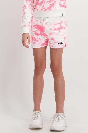 tie-dyesweatshort Cassandra wit/roze