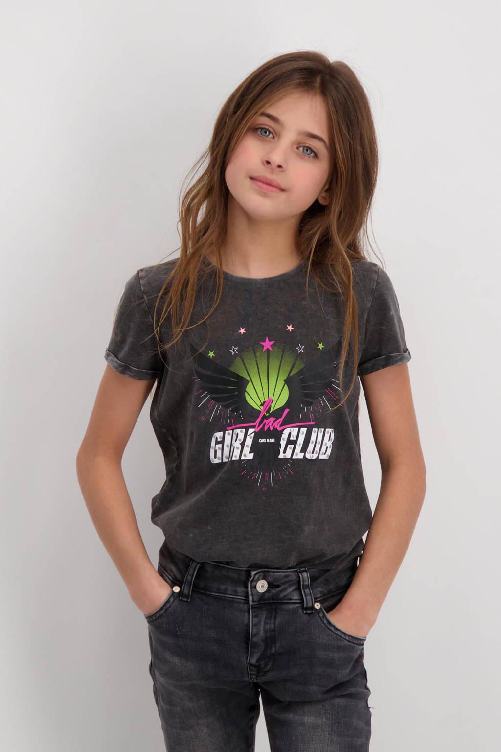 Cars T-shirt Nouri met printopdruk verwassen grijs, Verwassen grijs