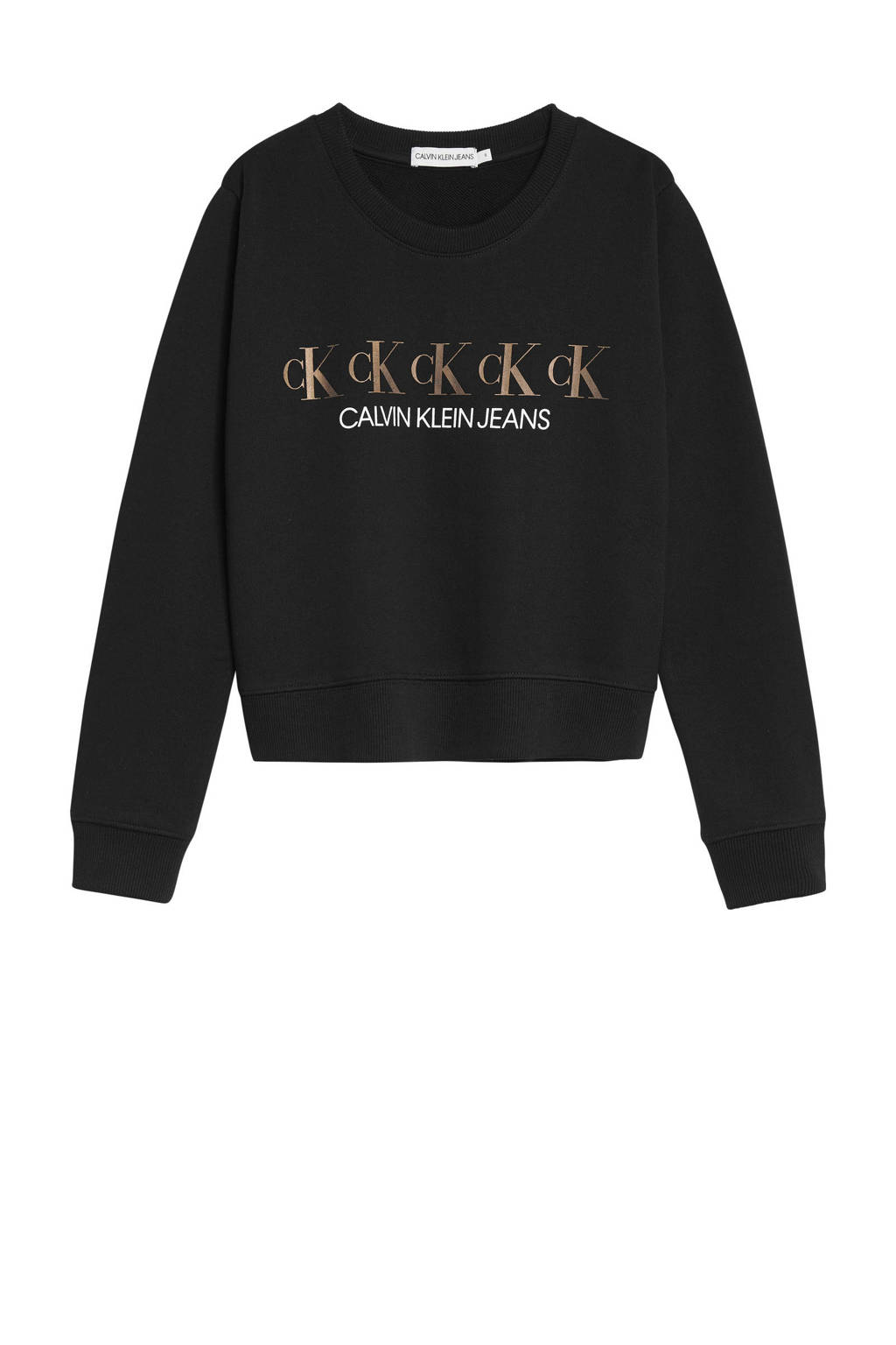 CALVIN KLEIN JEANS sweater met logo zwart/bruin/wit, Zwart/bruin/wit