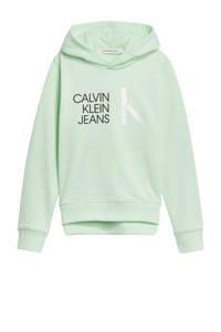 CALVIN KLEIN JEANS hoodie van biologisch katoen lichtgroen/zwart/wit, Lichtgroen/zwart/wit