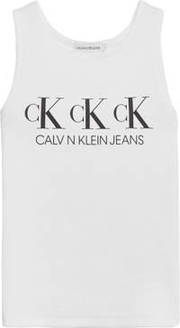 CALVIN KLEIN JEANS top met biologisch katoen wit/zwart, Wit/zwart