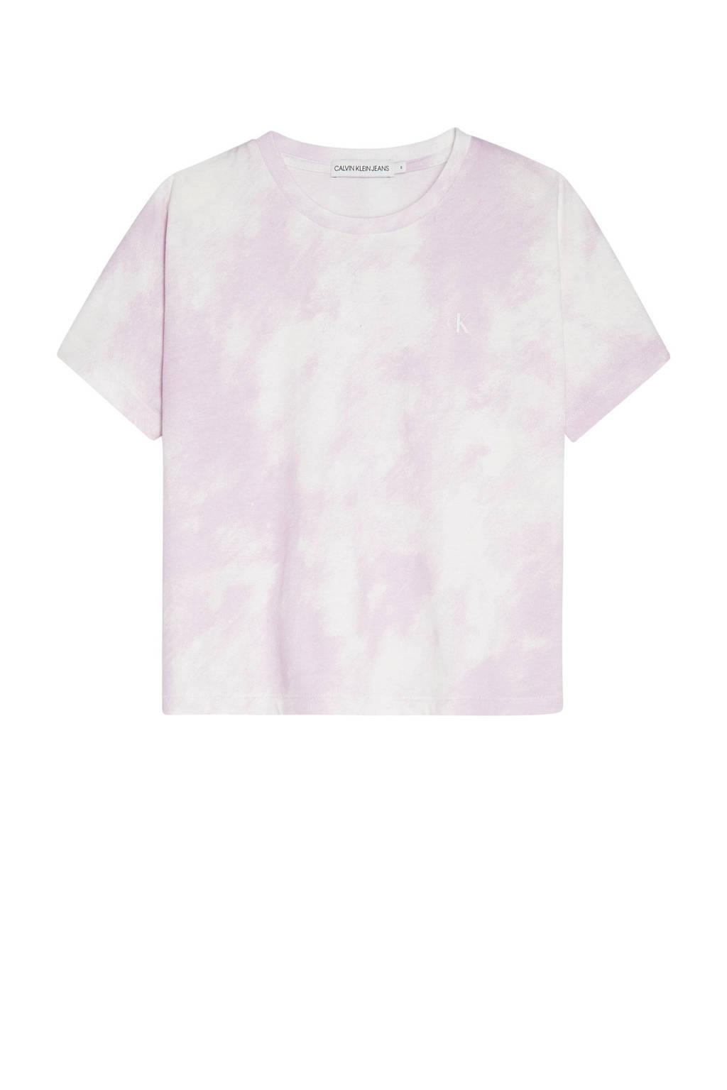 CALVIN KLEIN JEANS tie-dye T-shirt van biologisch katoen roze, Roze