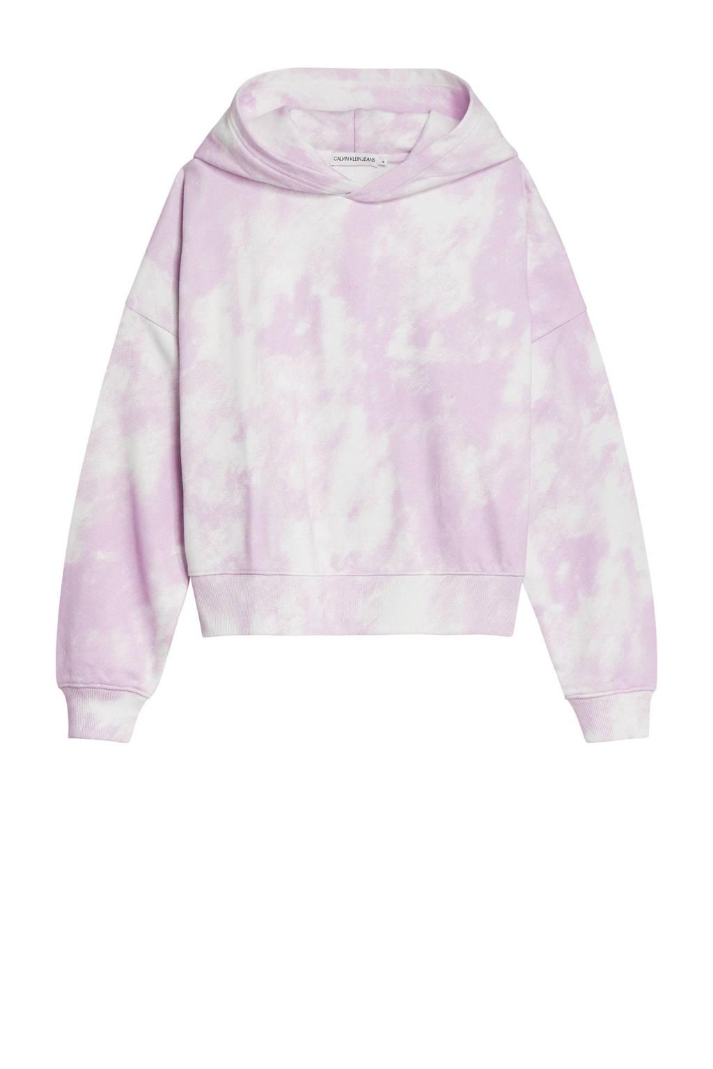CALVIN KLEIN JEANS tie-dye hoodie roze/wit, Roze/wit