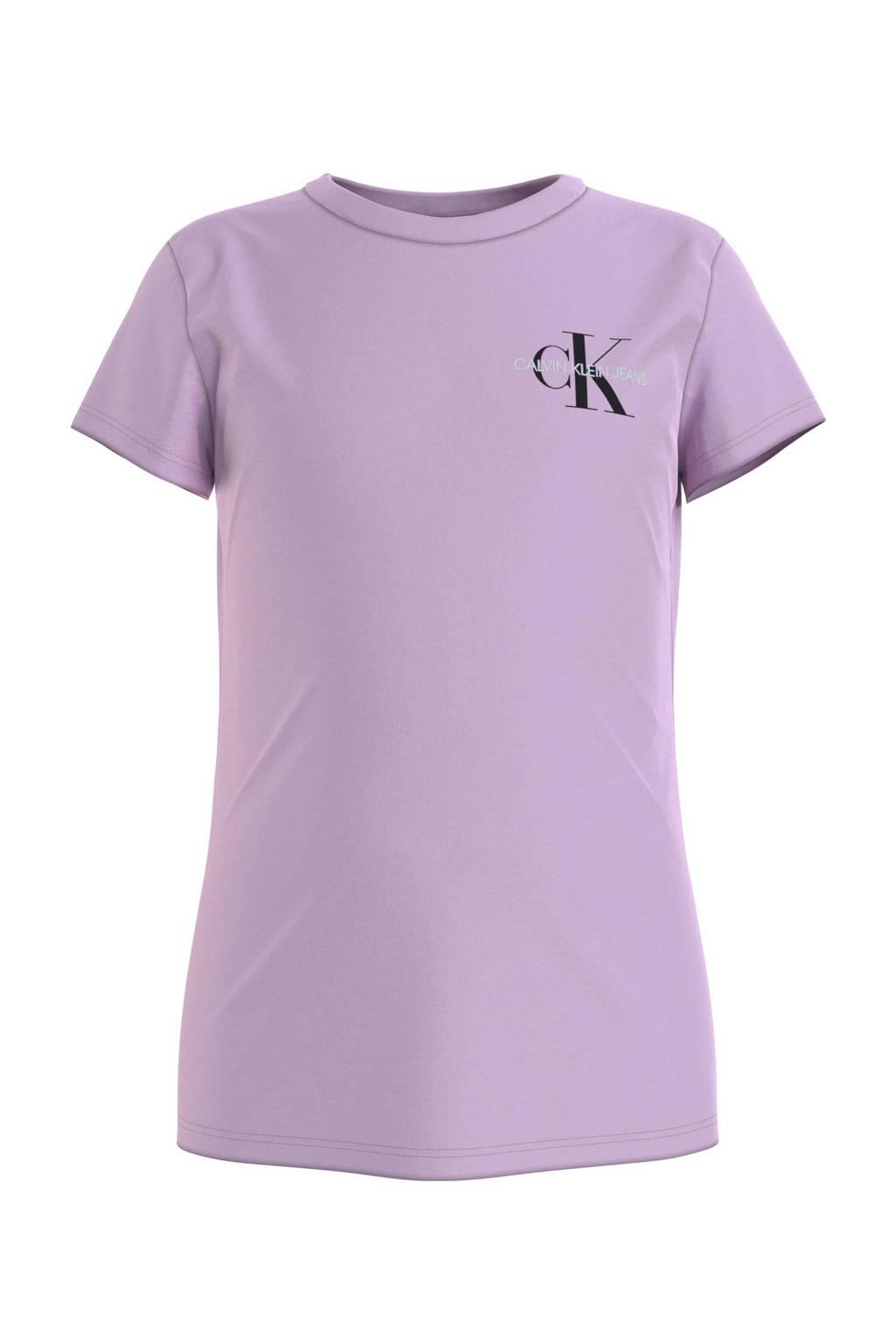 CALVIN KLEIN JEANS T-shirt van biologisch katoen lila, Lila