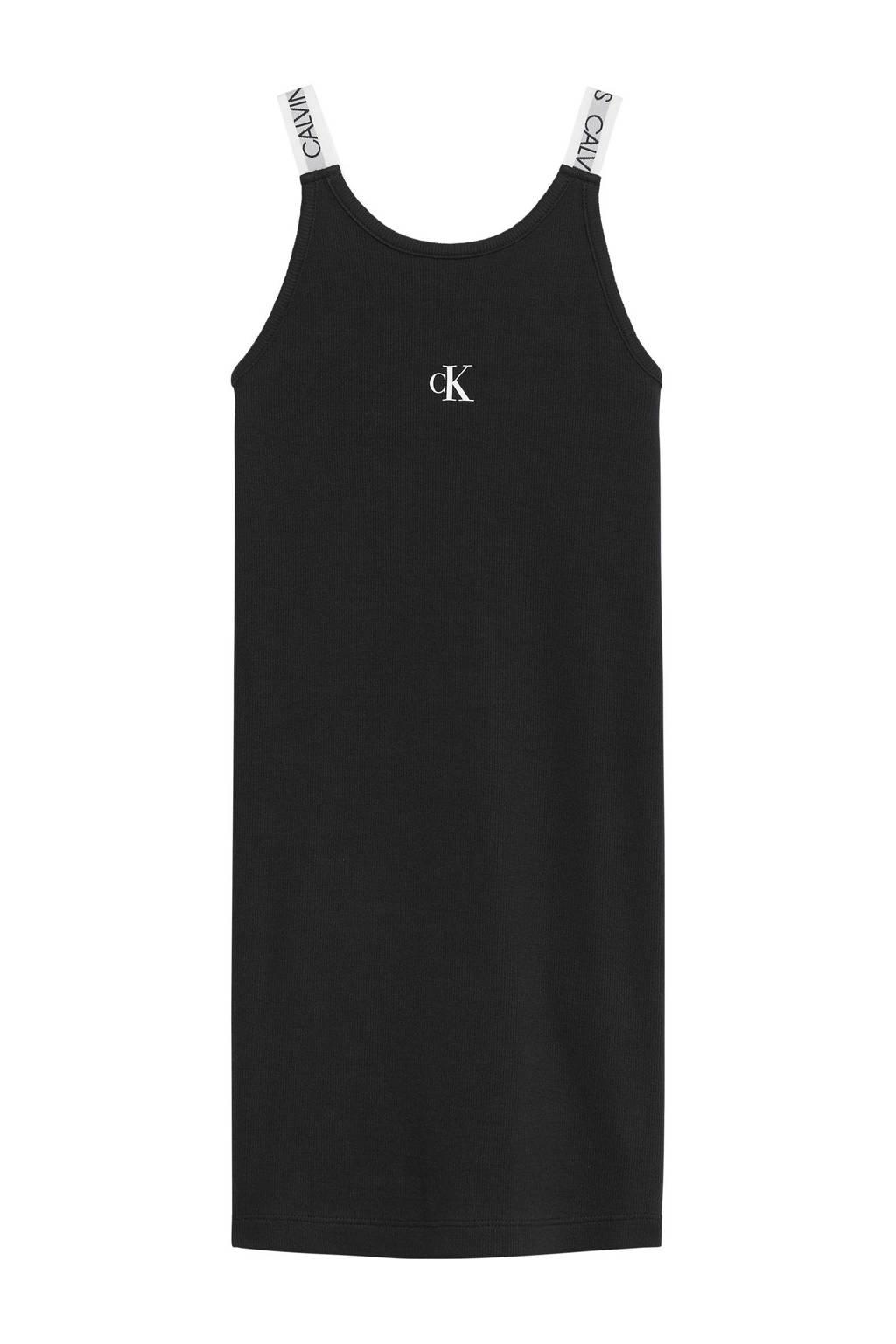 CALVIN KLEIN JEANS jurk met biologisch katoen zwart/wit, Zwart/wit