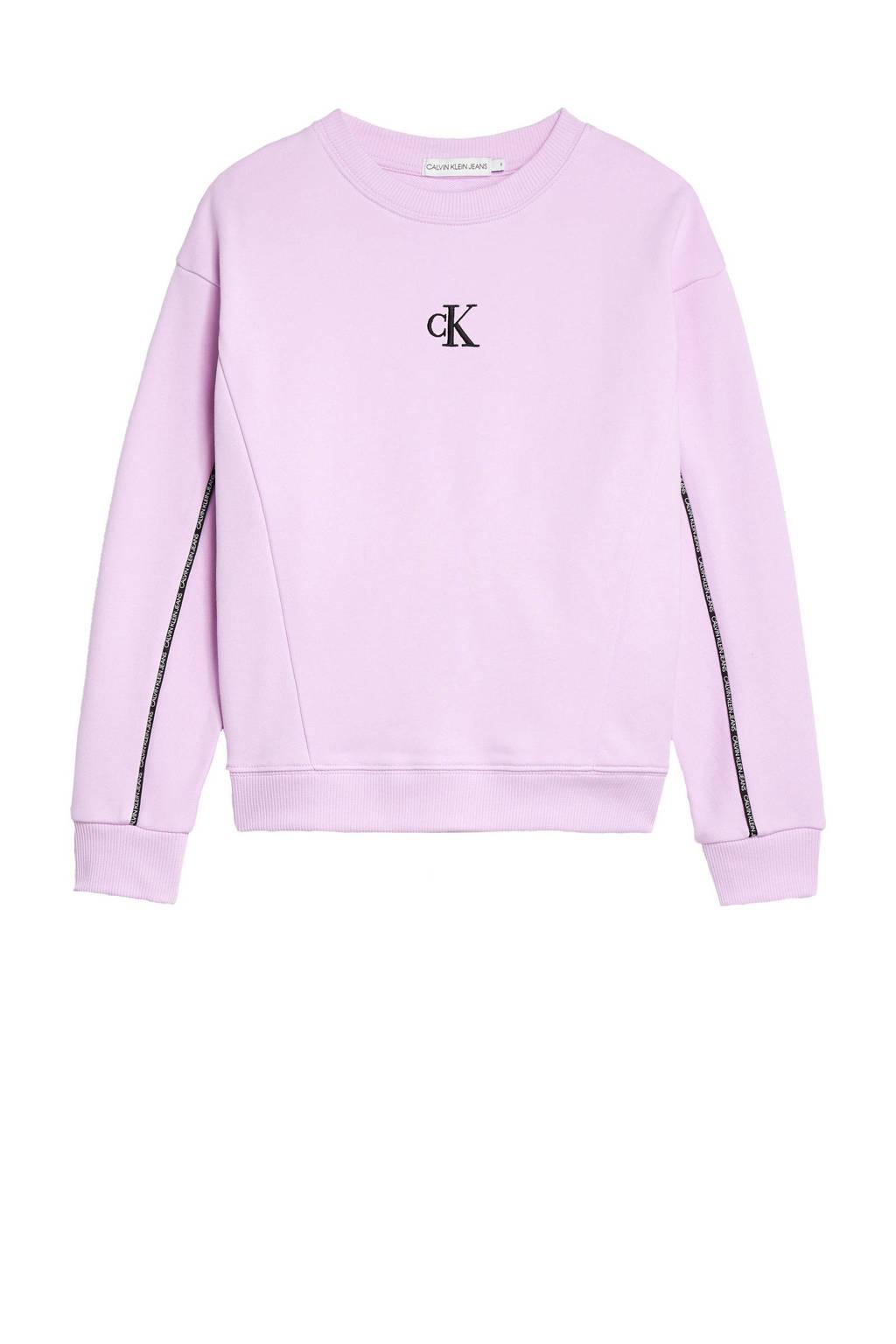 CALVIN KLEIN JEANS sweater met contrastbies lila/zwart/wit, Lila/Zwart/Wit