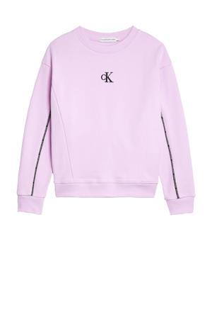 sweater met contrastbies lila/zwart/wit