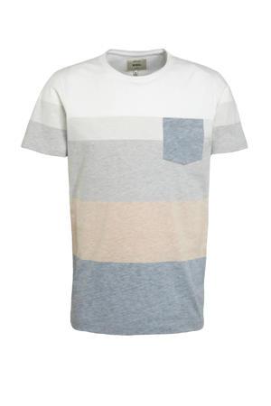 gestreept T-shirt grijs/wit/blauw/zalm