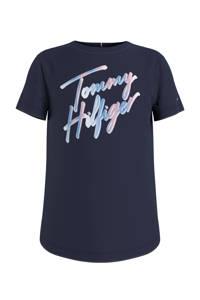 Tommy Hilfiger T-shirt van biologisch katoen donkerblauw/lichtroze, Donkerblauw/lichtroze