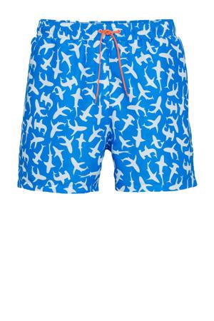 zwemshort met haai print blauw/wit