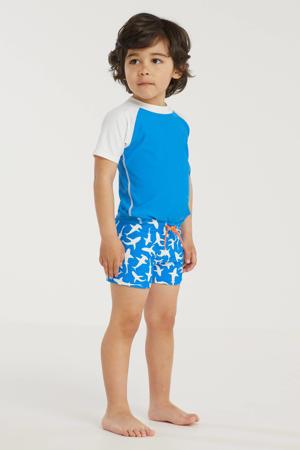 baby boys UV 50+ T-shirt + zwemboxer blauw/wit