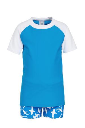 baby boys UV T-shirt + zwemboxer blauw/wit