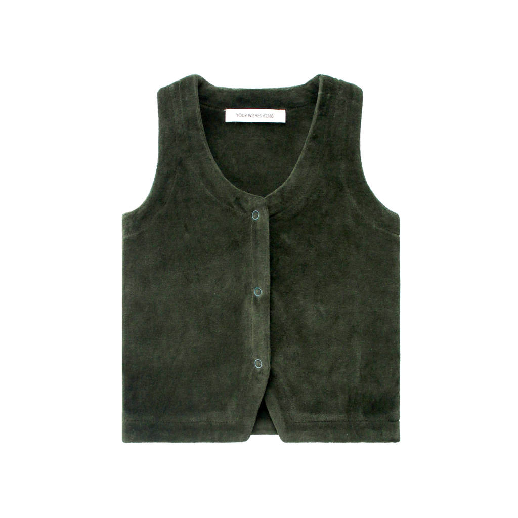 Your Wishes fluwelen gilet groen, Groen