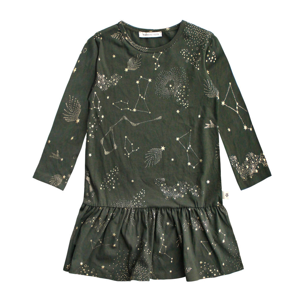 Your Wishes A-lijn jurk met all over print en plooien groen, Groen