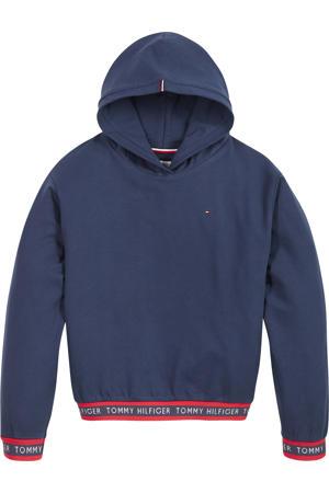 hoodie met logo donkerblauw/rood