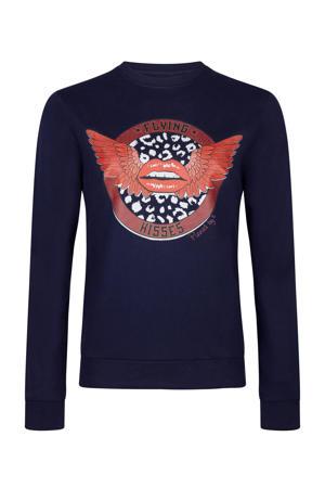 sweater Flying Kisses met printopdruk blauw