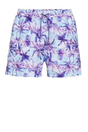 zwemshort met palmboom print turquoise/paars