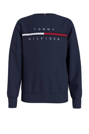sweater met biologisch katoen donkerblauw/wit/rood