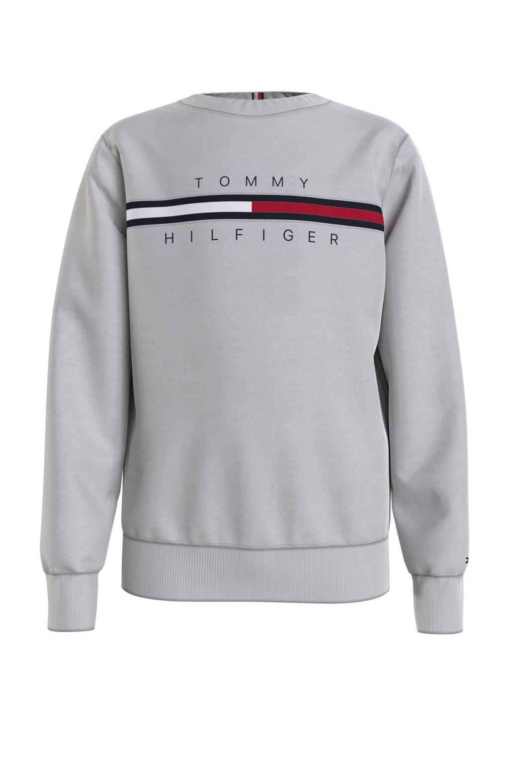 Tommy Hilfiger sweater met logo grijs melange, Grijs melange