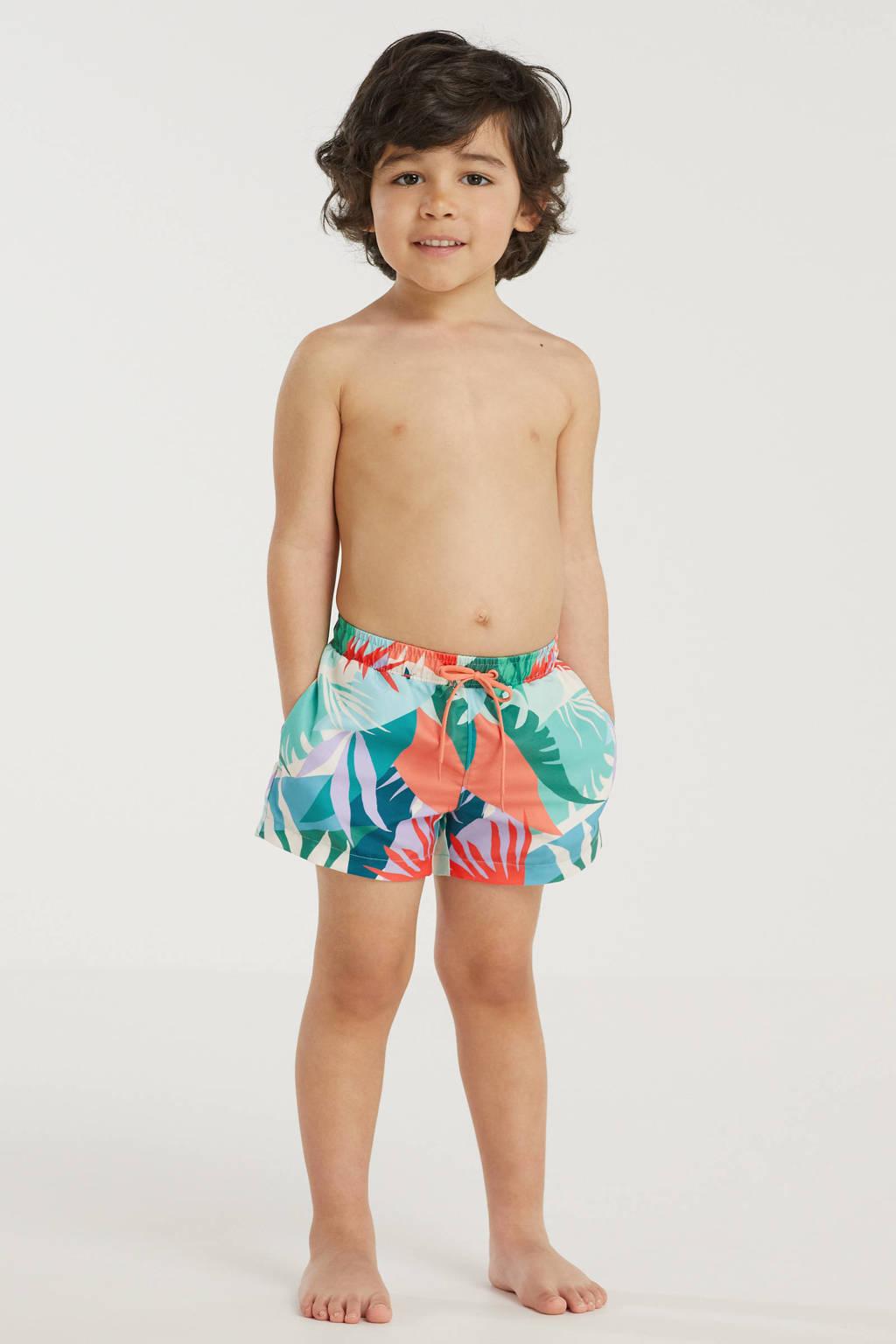 BEACHWAVE baby boys zwemshort met all over print groen/oranje, Groen/oranje