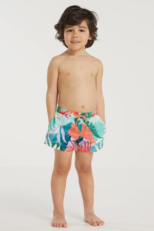 baby boys zwemshort met all over print groen/oranje