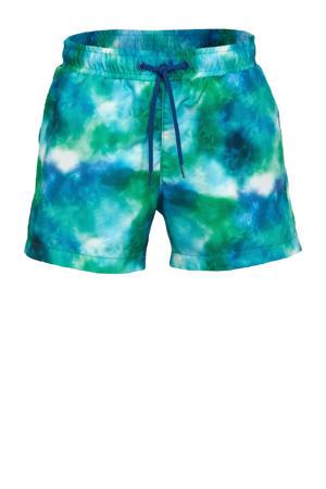 jongens zwemshort met tie-dye print groen