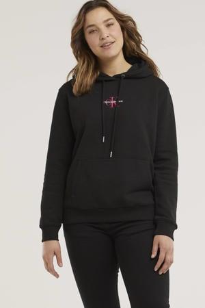 hoodie met logo en borduursels zwart/wit/roze