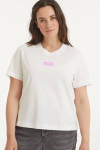 CALVIN KLEIN Plus T-shirt van biologisch katoen wit/multi, Wit/multi