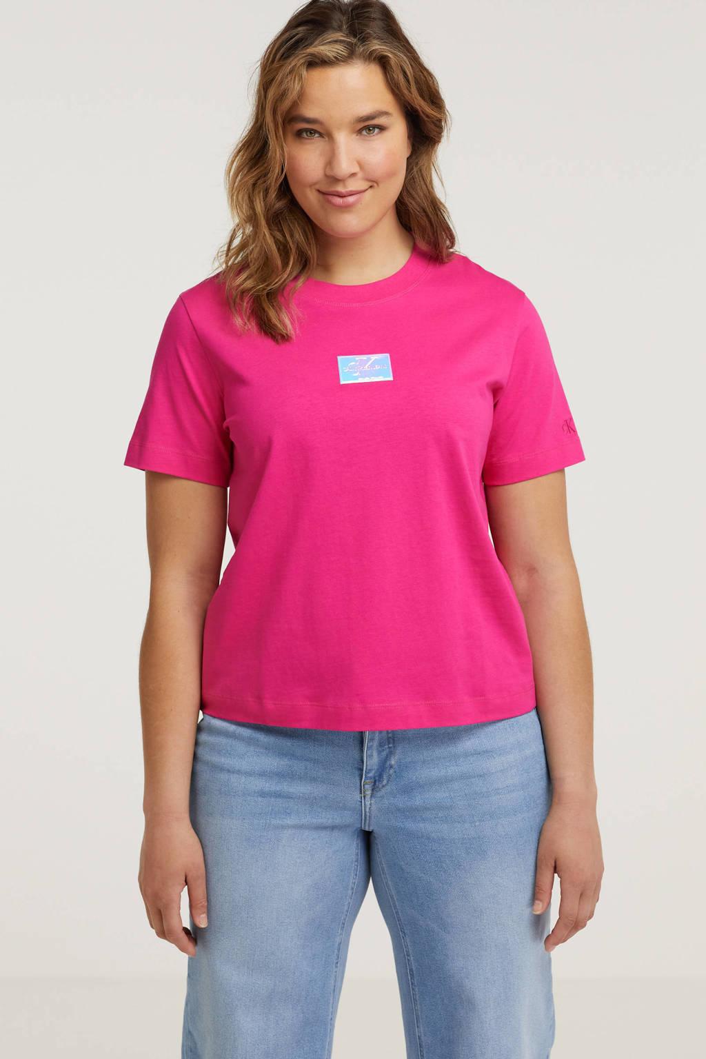 CALVIN KLEIN Plus T-shirt van biologisch katoen fuchsia/multi, Fuchsia/multi