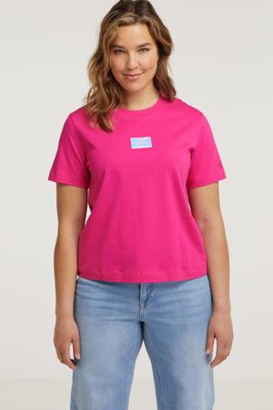 T-shirt van biologisch katoen fuchsia/multi