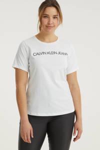 CALVIN KLEIN Plus T-shirt van biologisch katoen wit/zwart, Wit/zwart