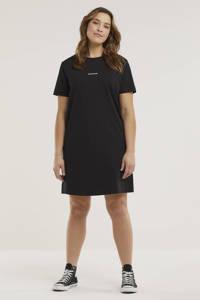 CALVIN KLEIN Plus T-shirtjurk met logo en borduursels donkerblauw/wit, Donkerblauw/wit