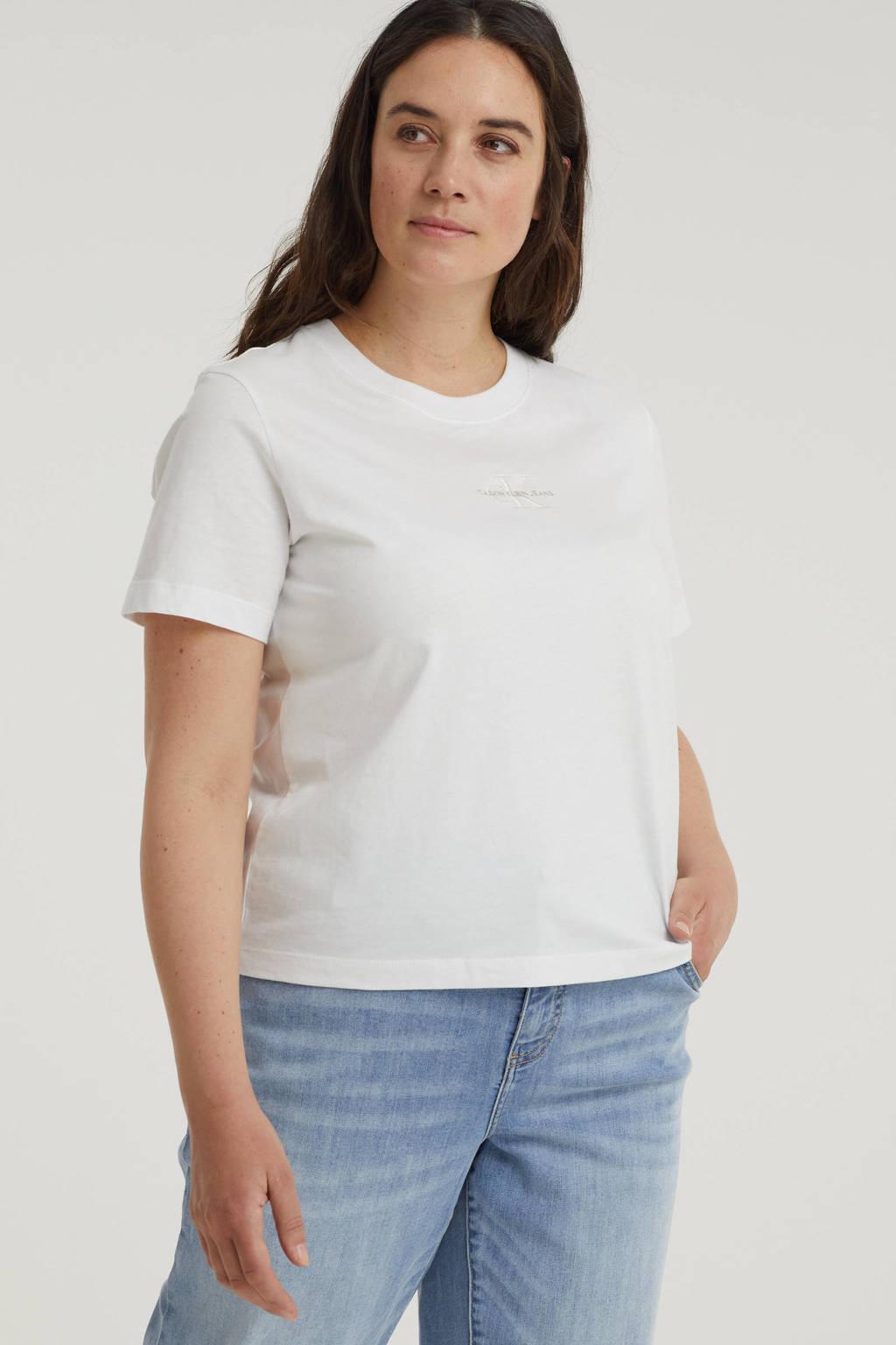 CALVIN KLEIN Plus T-shirt van biologisch katoen wit/ecru, Wit/ecru