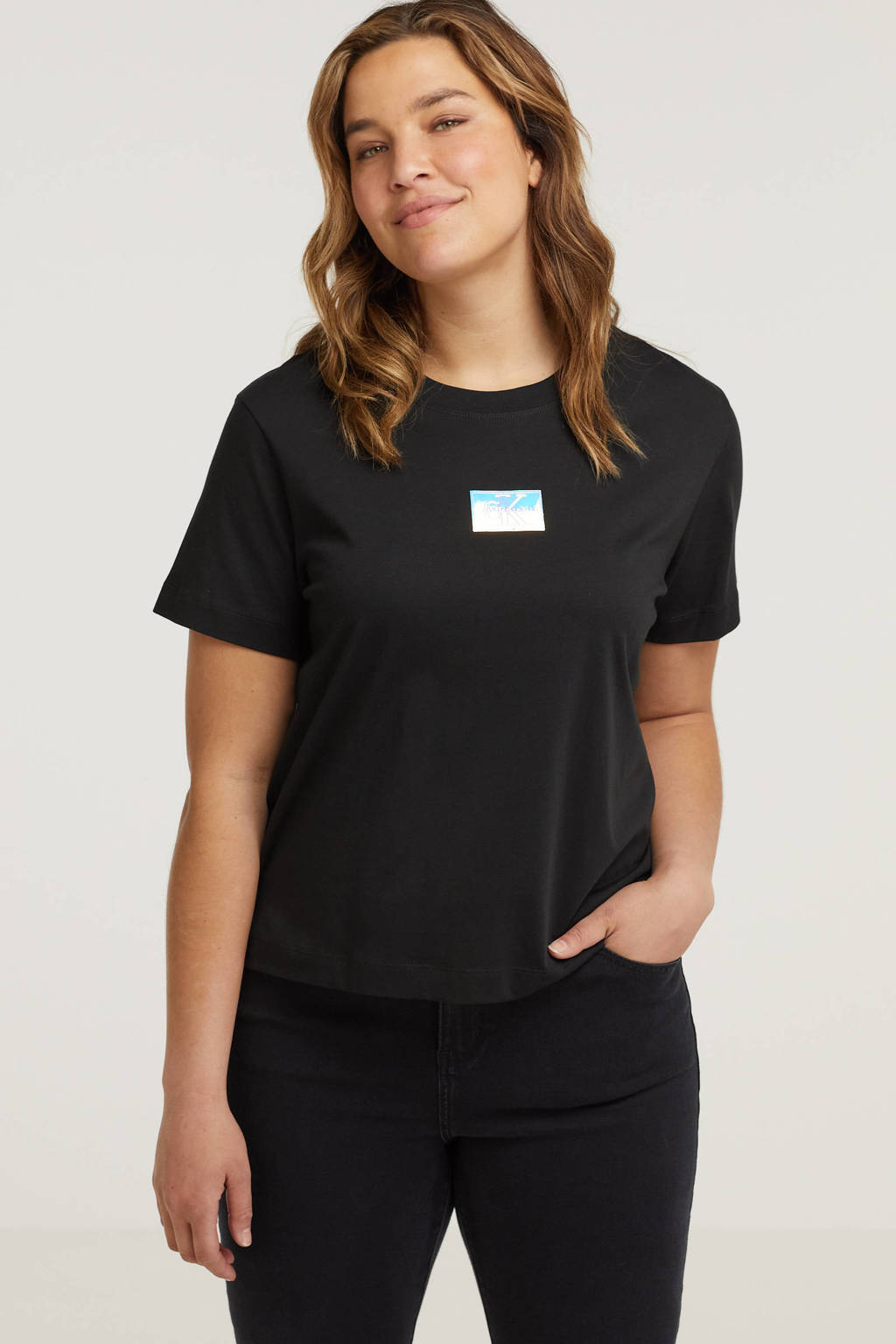 CALVIN KLEIN Plus T-shirt van biologisch katoen zwart/multi, Zwart/multi